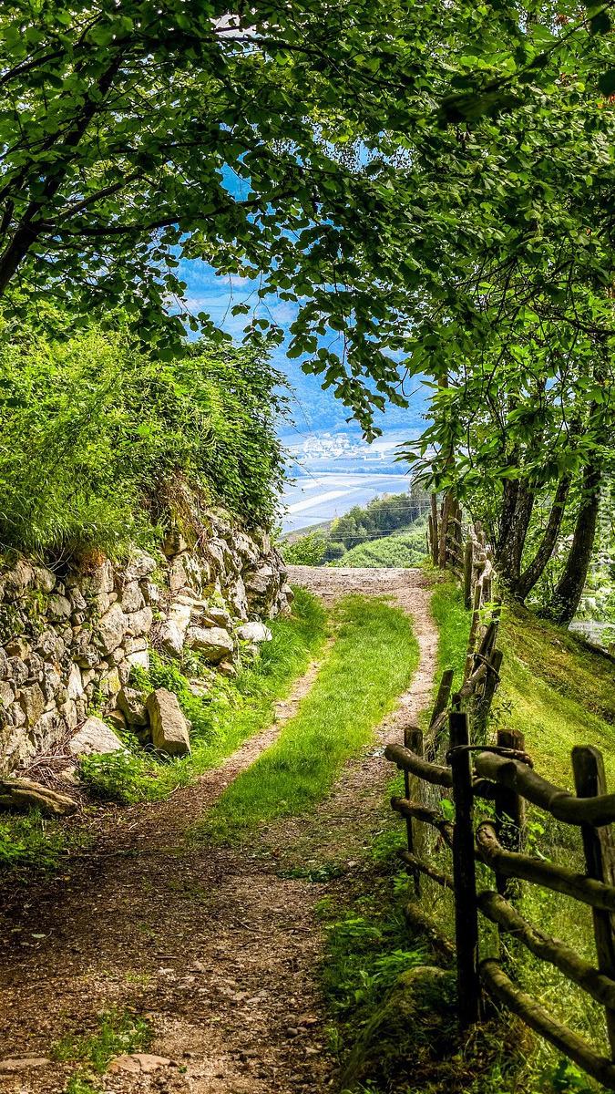 Droga wzdłuż kamiennego muru