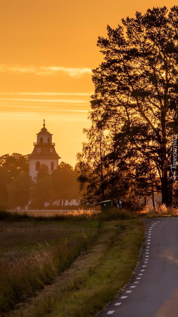 Droga z widokiem na drzewo i kościół