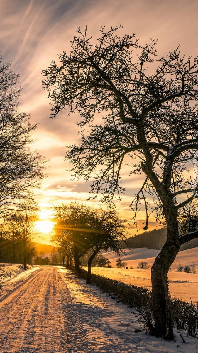 Droga zimą oświetlona wschodzącym słońcem