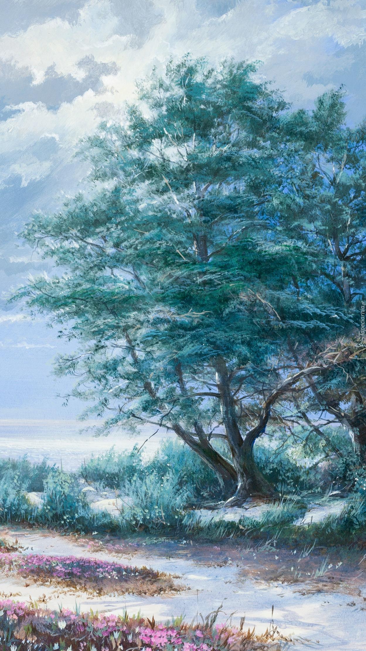 Drzewo i chmury na obrazie Maurice Harveya