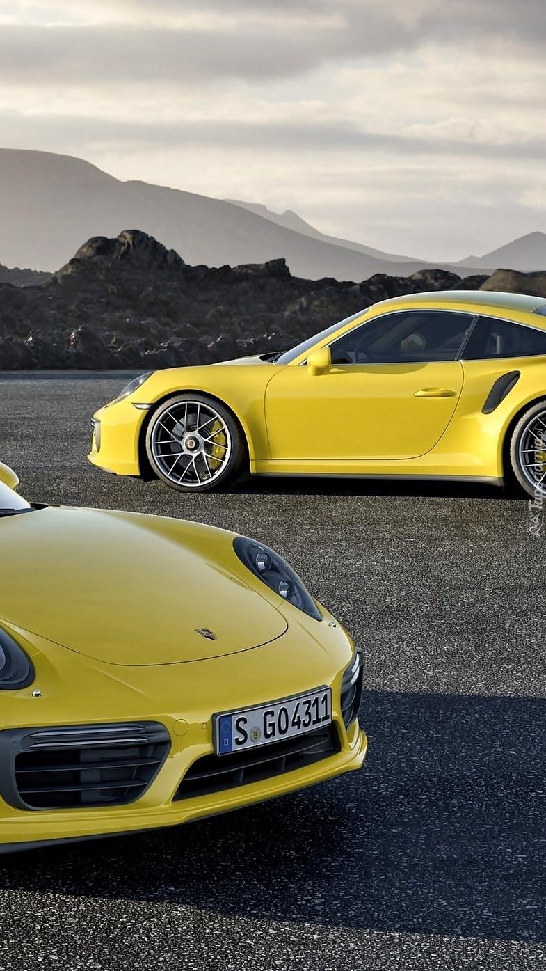 Dwa żółte Porsche 911