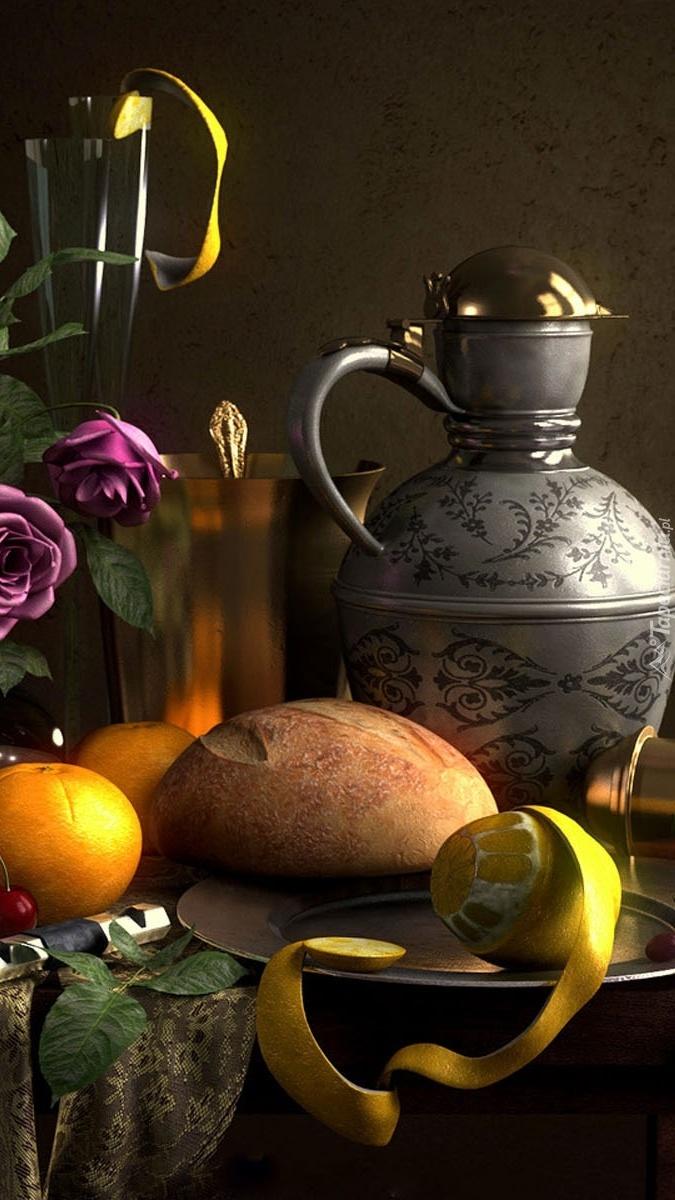 Dzban koło chleba i cytryny