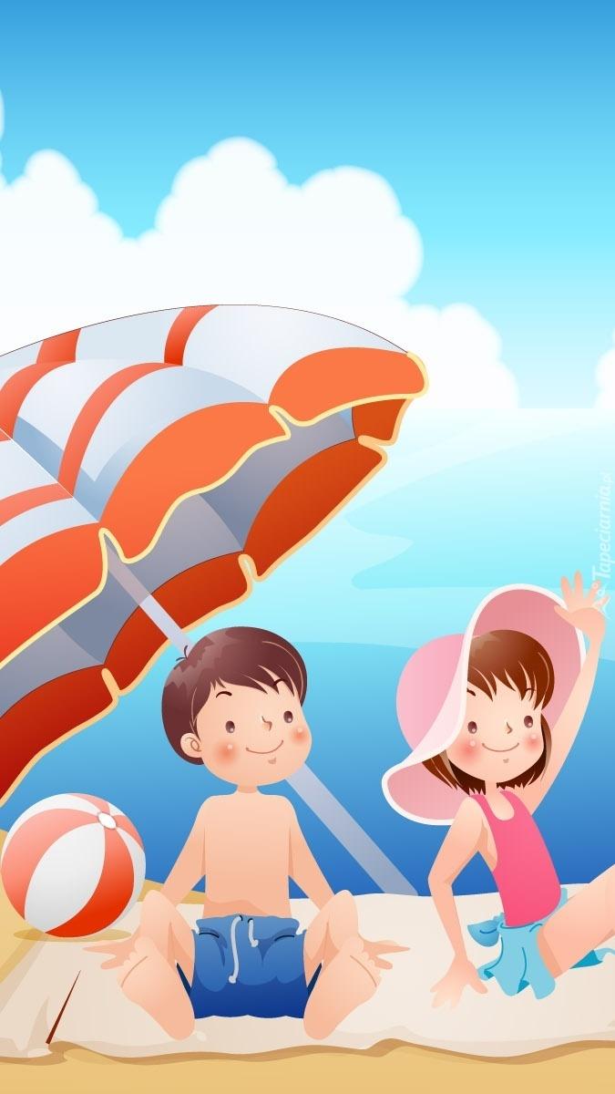 Dzieci letnią porą nad morzem