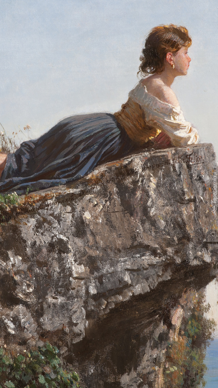 Dziewczyna leżąca na skale
