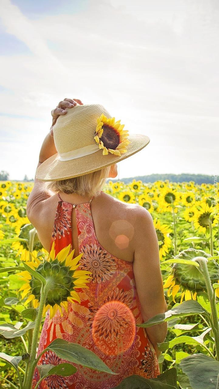 Dziewczyna na plantacji słoneczników