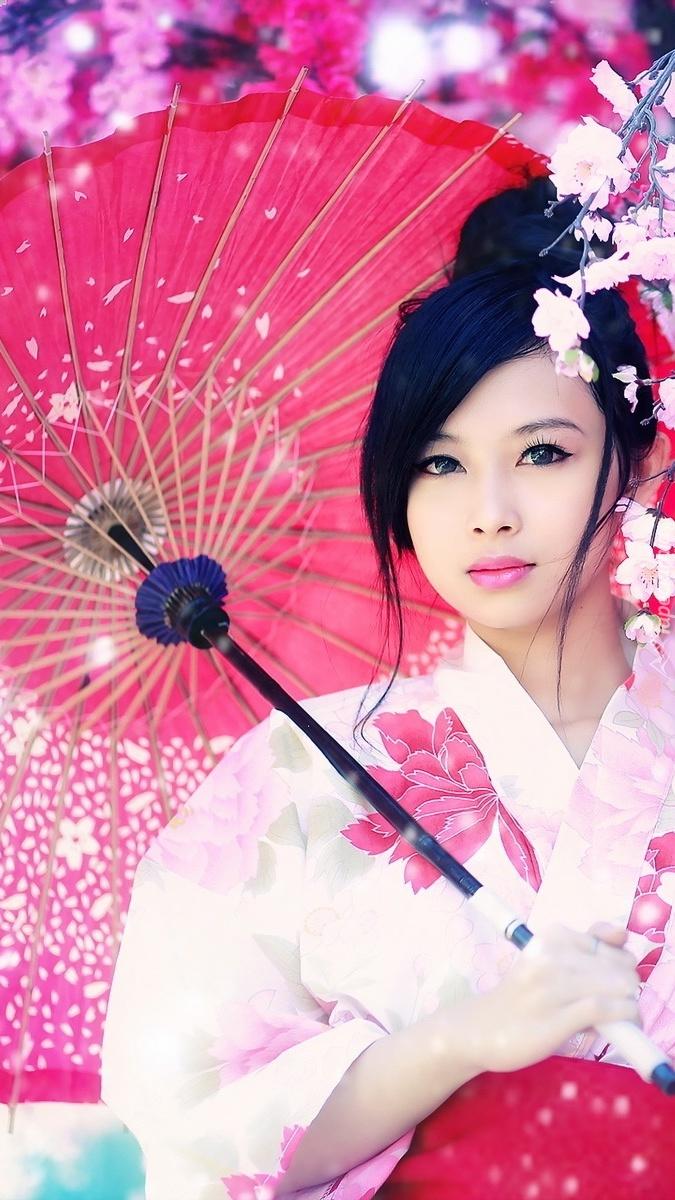 Dziewczyna pod parasolką