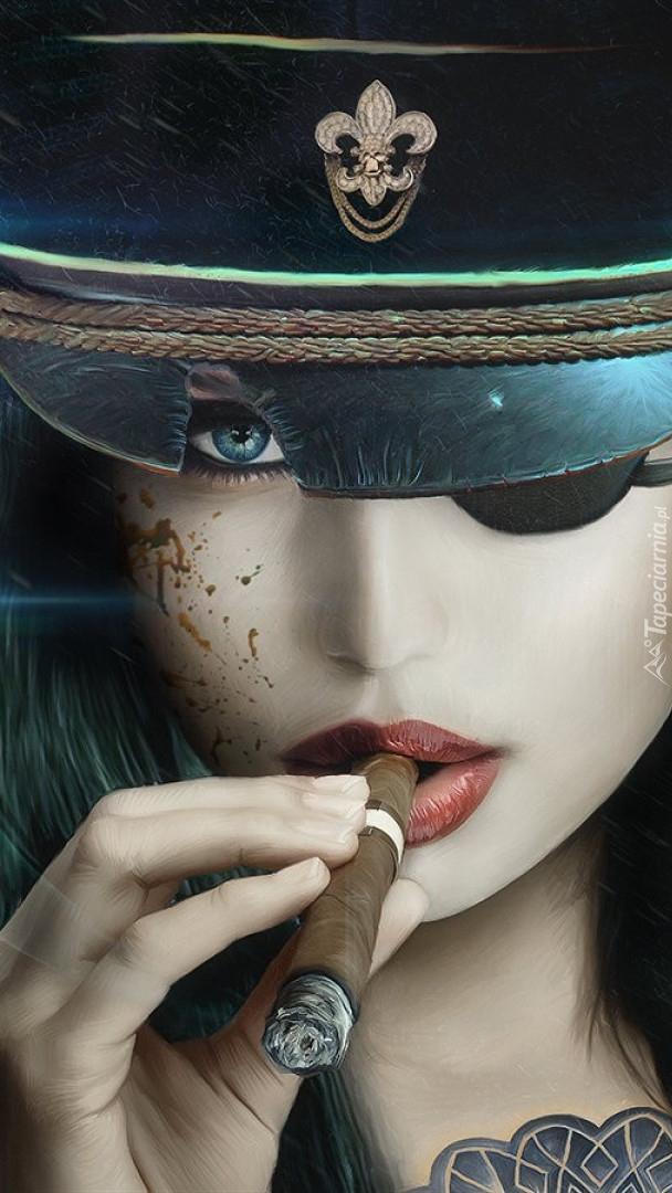 Dziewczyna w czapce z cygarem