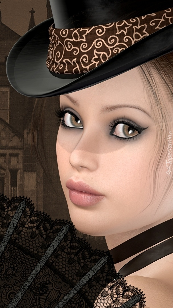 Dziewczyna w kapeluszu w 2D
