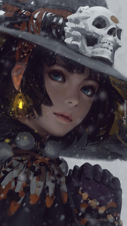 Dziewczyna w kapeluszu z czaszką
