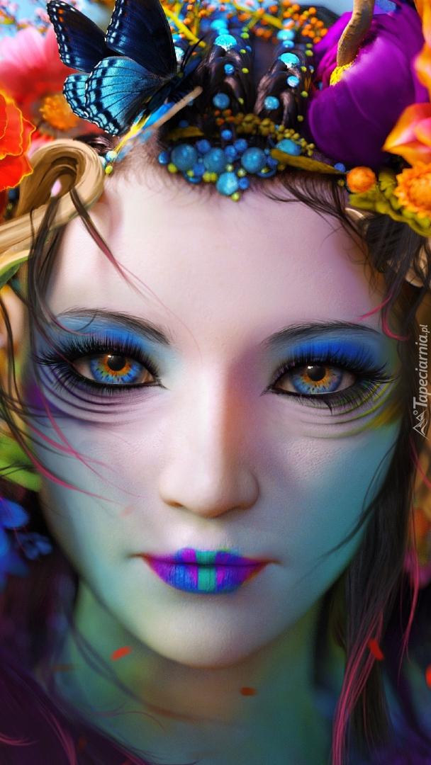 Dziewczyna w kolorowym makijażu