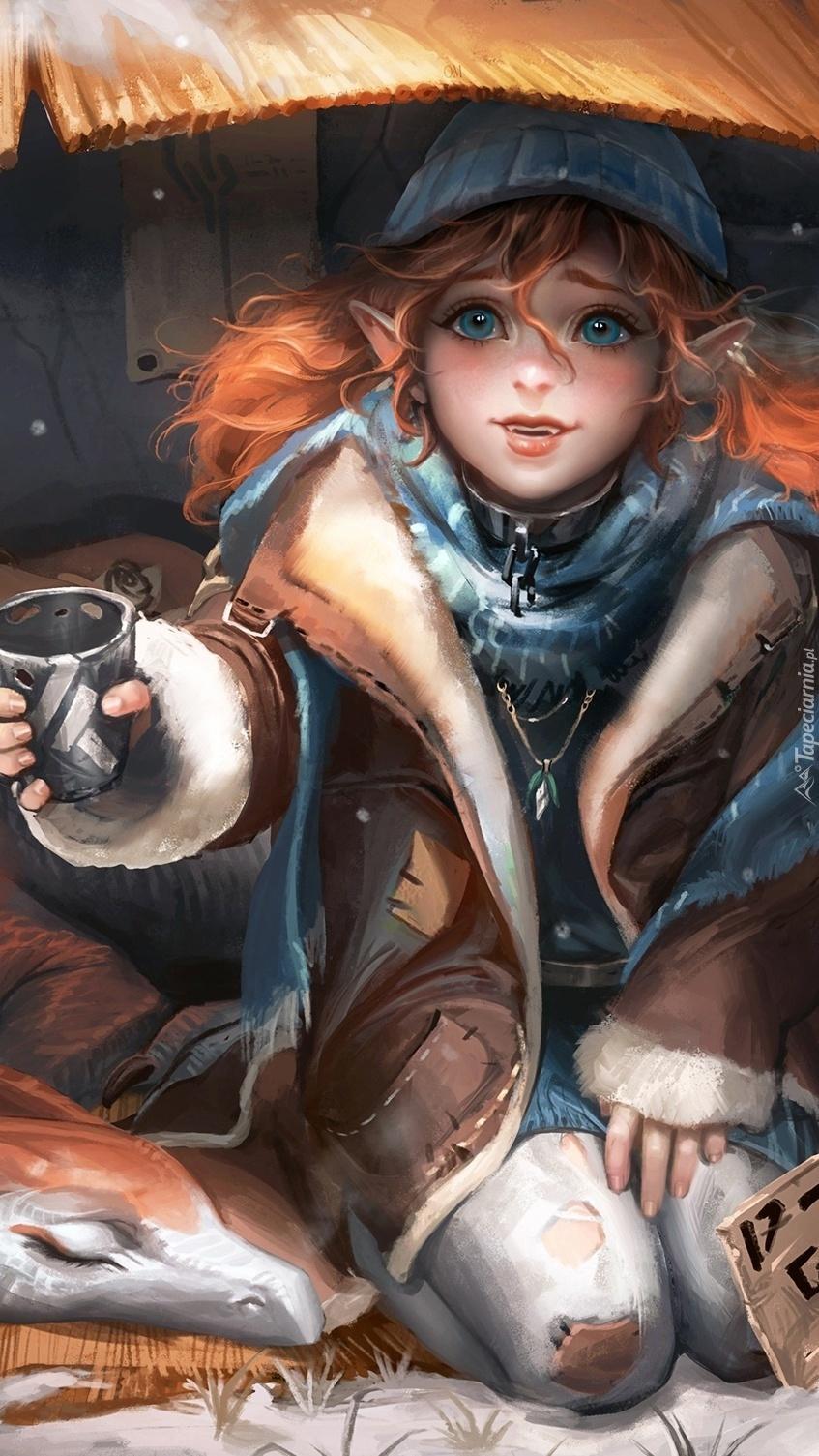 Dziewczyna z kubkiem w dłoni