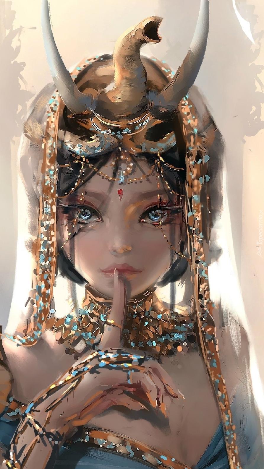 Dziewczyna z ozdobnym nakryciem głowy w grafice