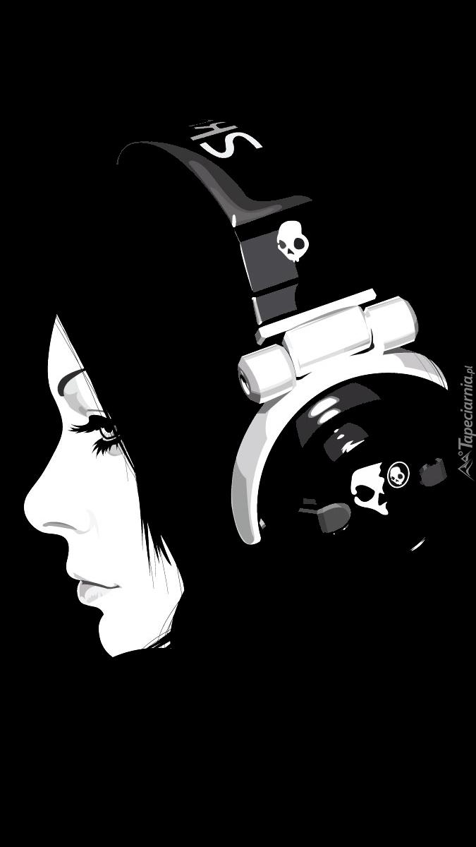 Dziewczyna z słuchawkami na czarnym tle