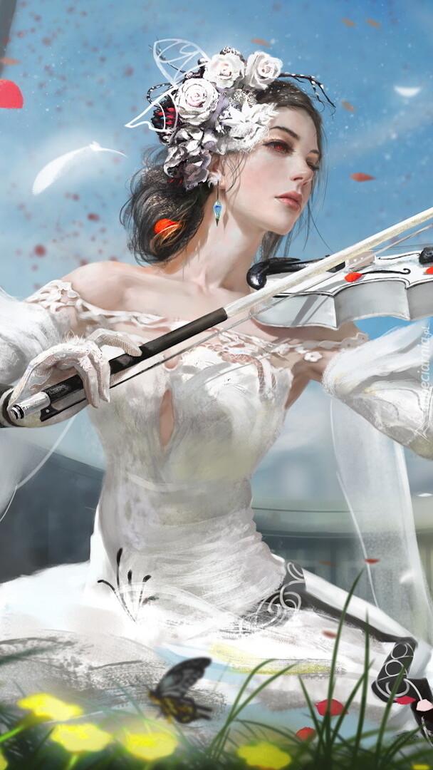 Dziewczyna ze skrzypcami w grafice
