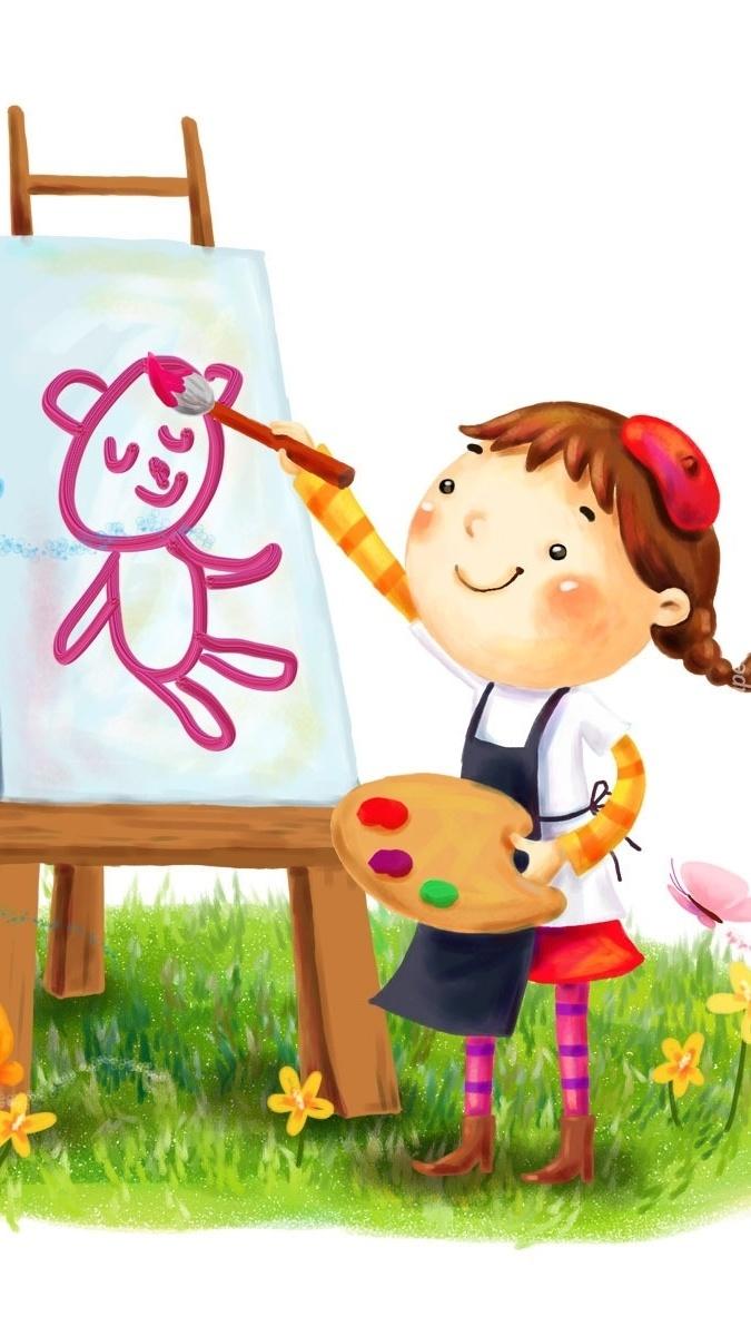 Dziewczynka malująca misia