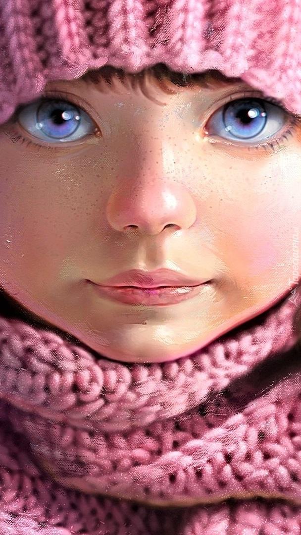 Dziewczynka o dużych niebieskich oczach