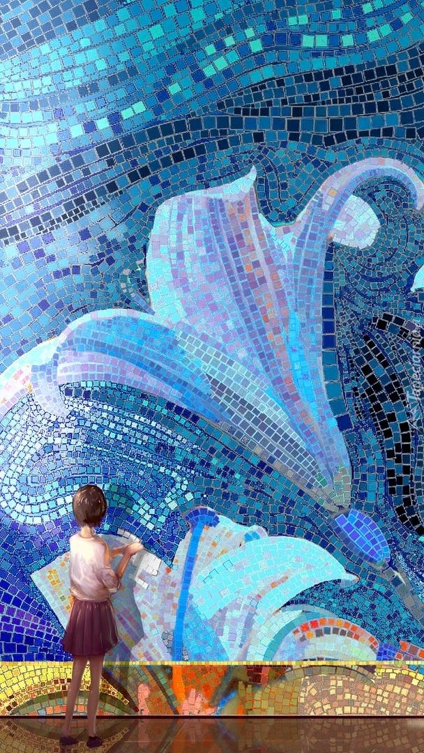 Dziewczynka przy mozaikowej lilii