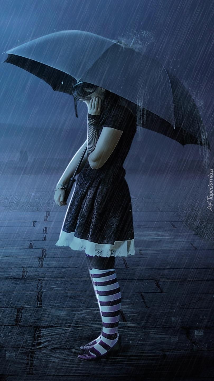 Dziewczynka z parasolką w deszczu