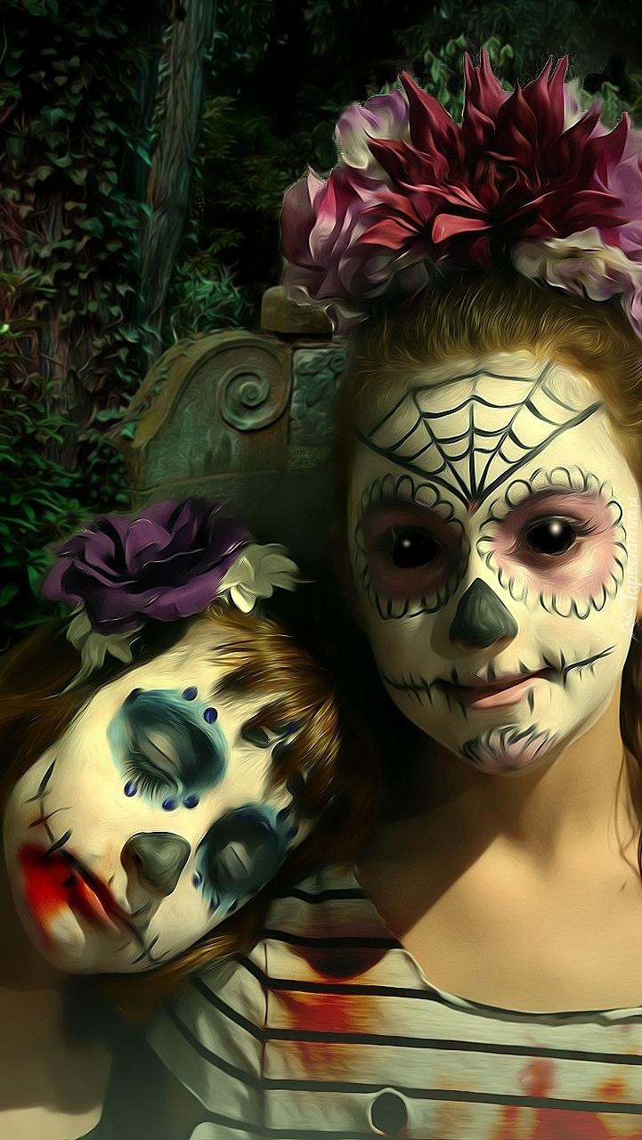 Dziewczynki w mrocznym makijażu