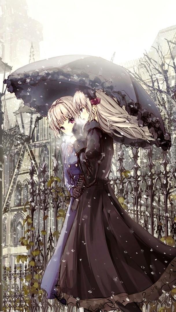 Dziewczyny pod parasolem