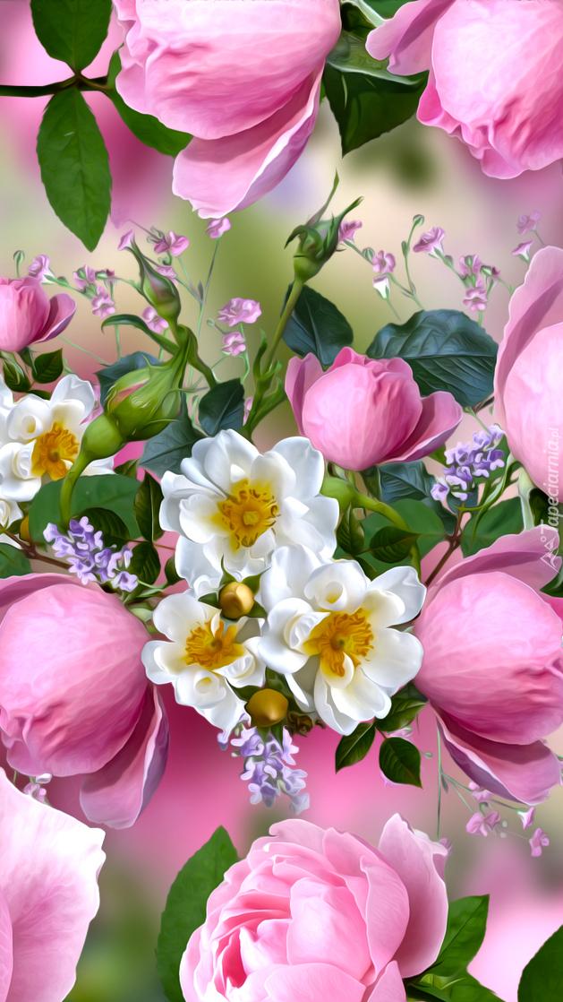 Dzika róża i różowe pąki róż
