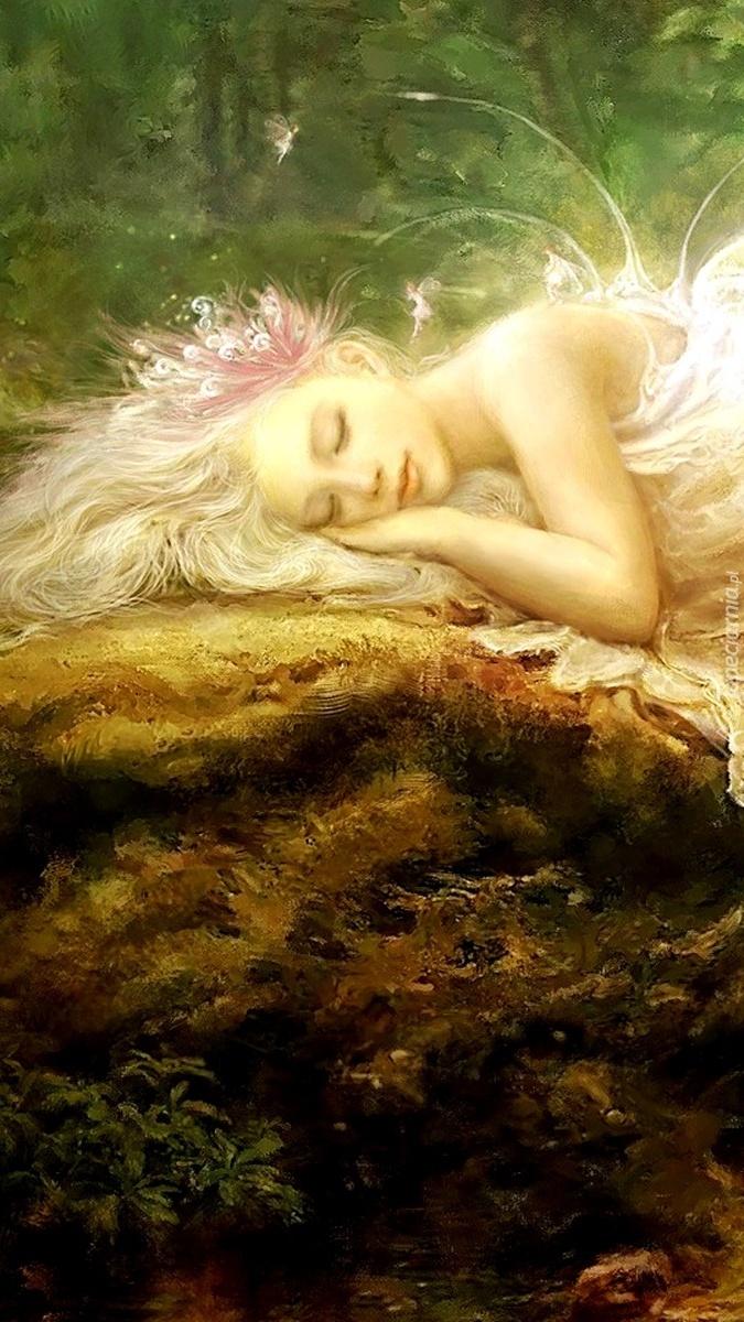 Elf zasnął na mchu