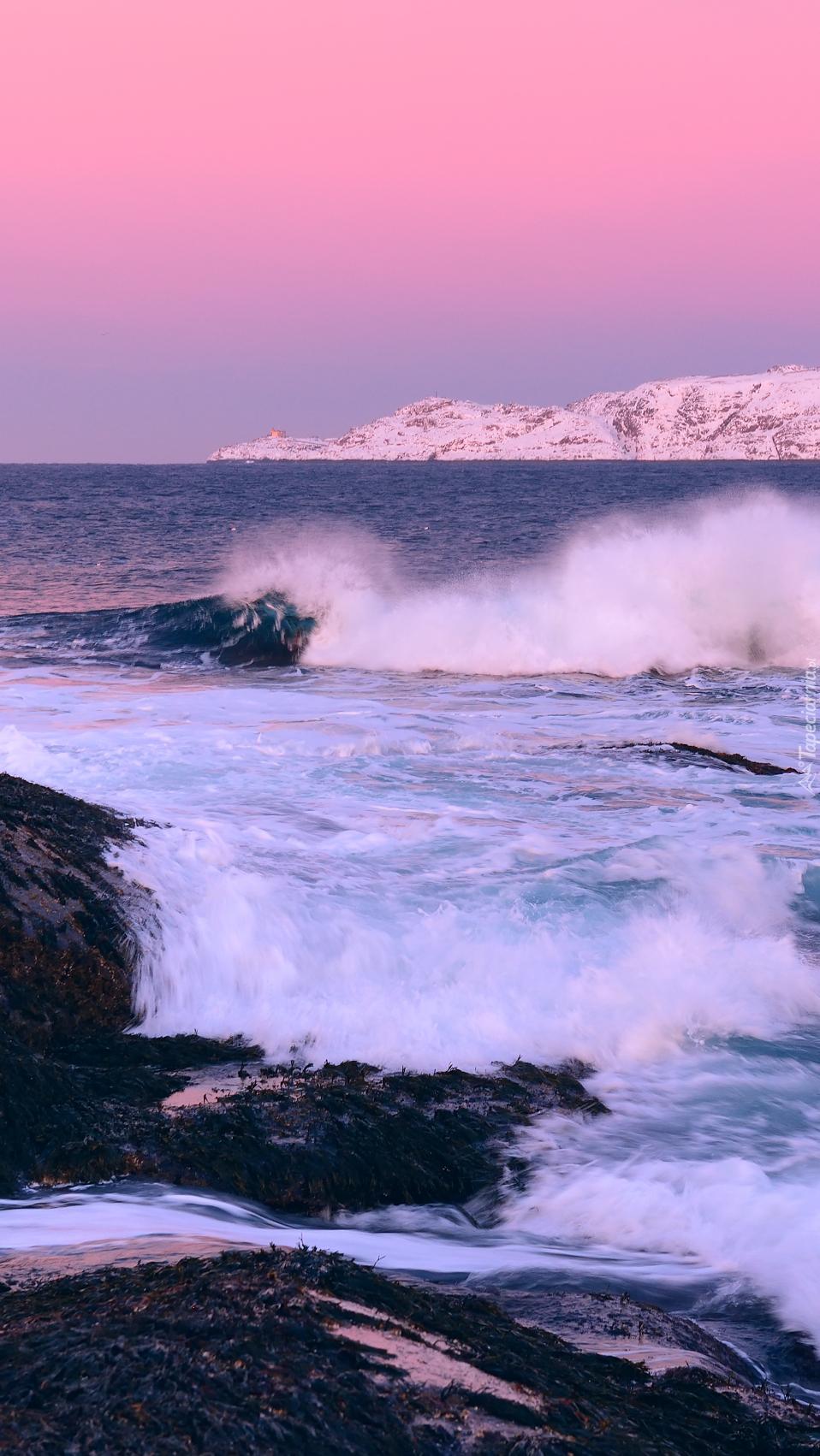 Fale na skałach w Zatoce Kolskiej