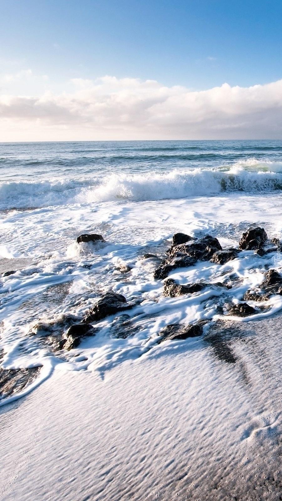 Fale przypływu nad morzem