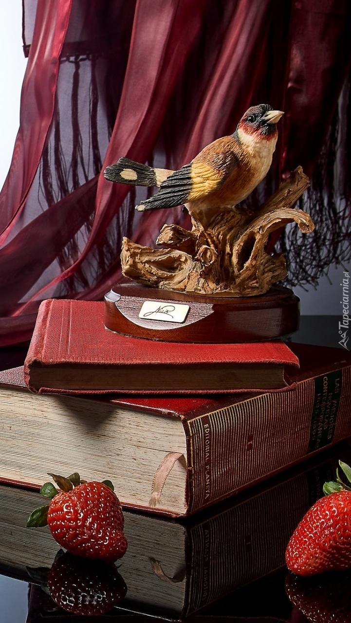 Figurka ptaka na książkach