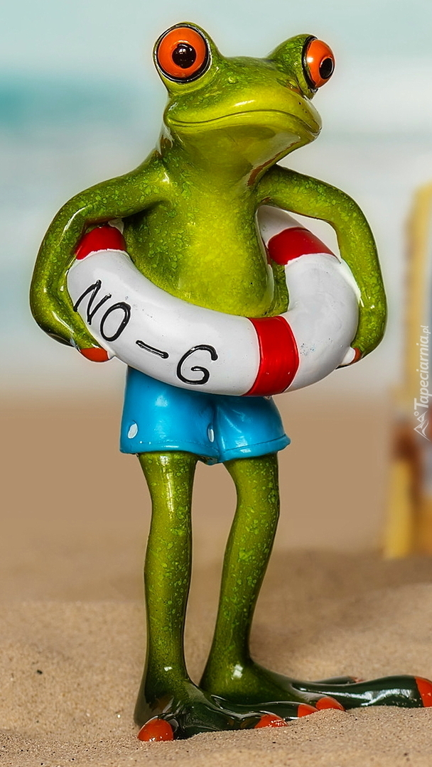 Figurka żaby z kołem ratunkowym