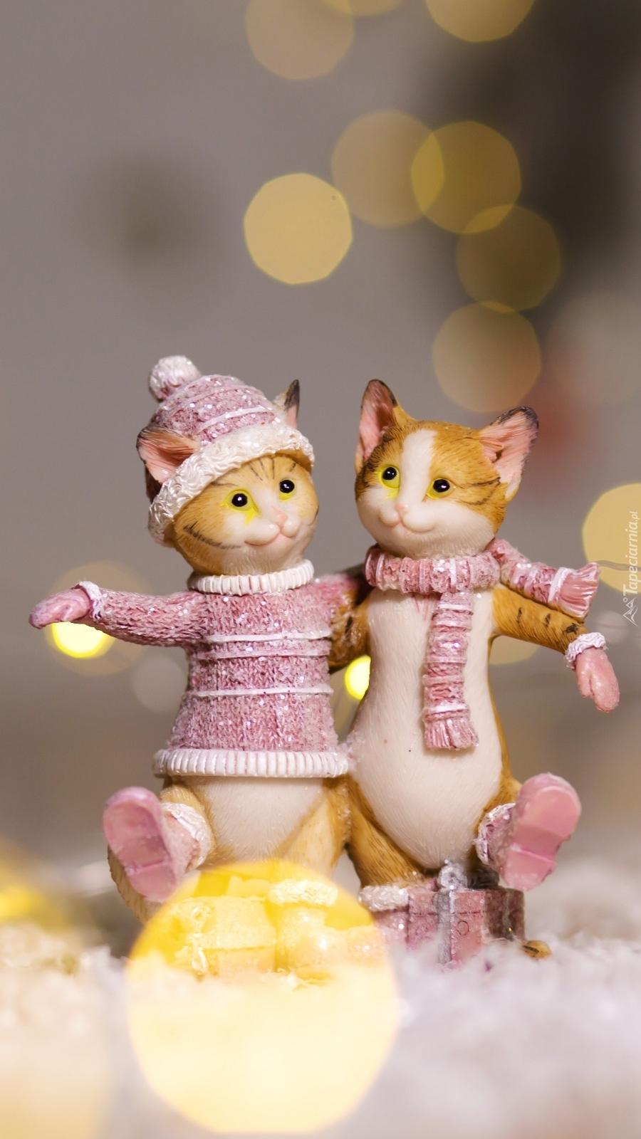 Figurki dwóch kotów