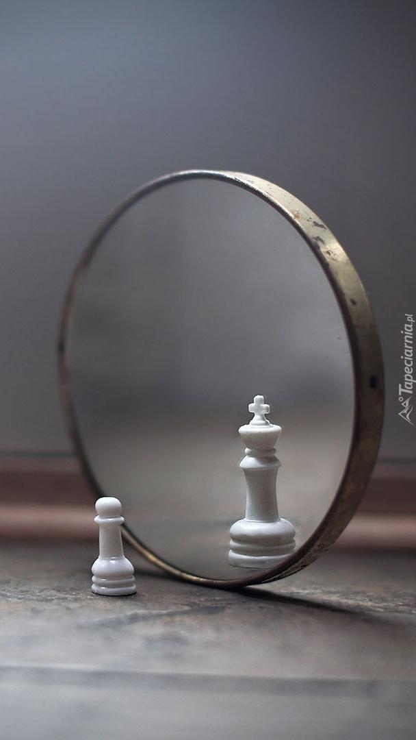 Figury szachowe w lusterku