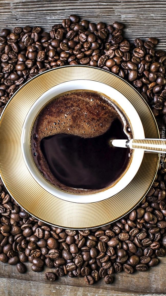 Filiżanka kawy na ziarnach