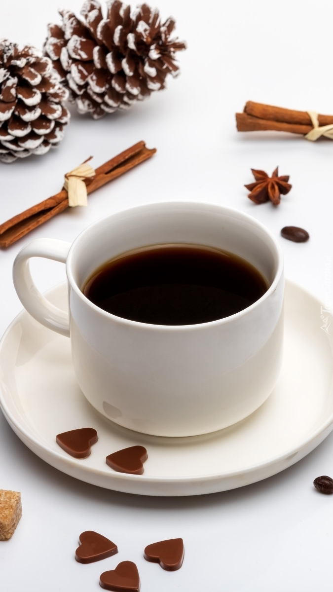 Filiżanka kawy obok szyszek
