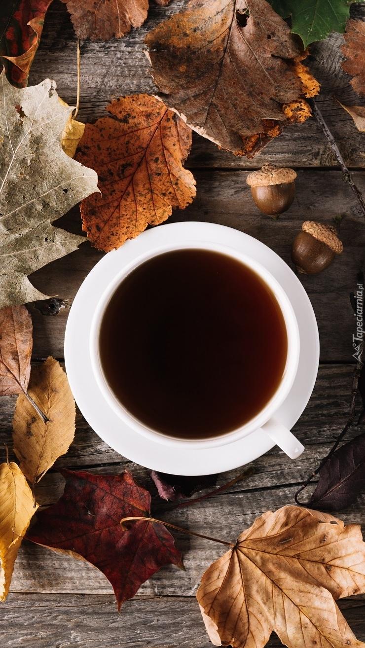 Filiżanka kawy wśród jesiennych liści