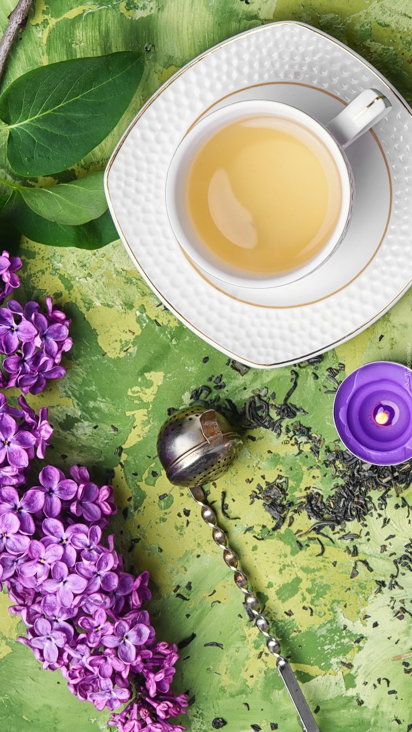 Filiżanka z herbatą obok gałązki bzu