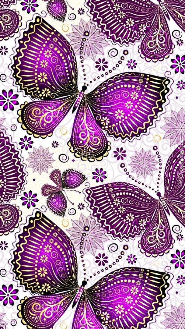 Fioletowe motyle w 2D