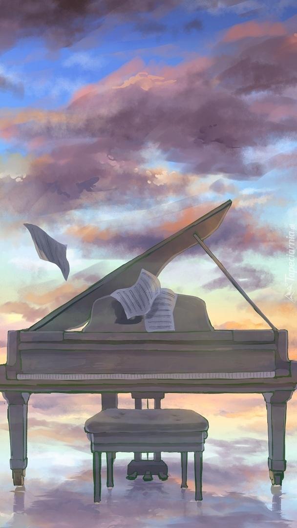 Fortepian pod chmurami w grafice
