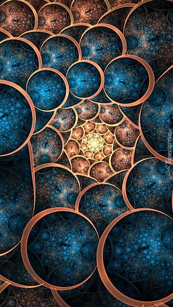 Fraktalne turkusowo-brązowe wzory