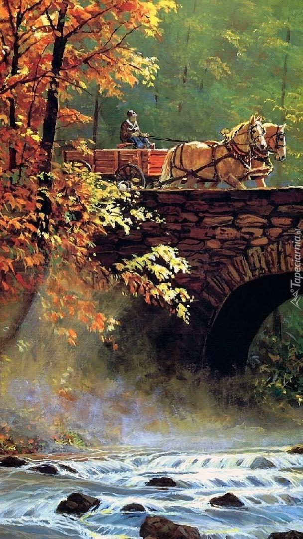 Furmanka na kamiennym moście