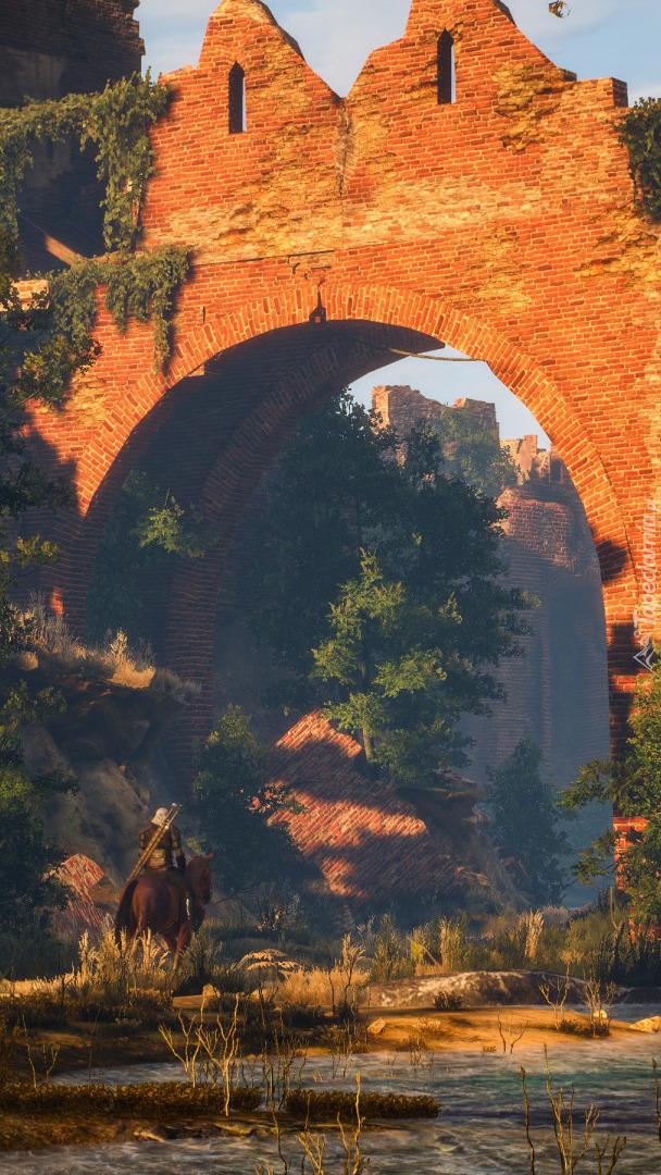 Geralt na koniu w zamkowych ruinach