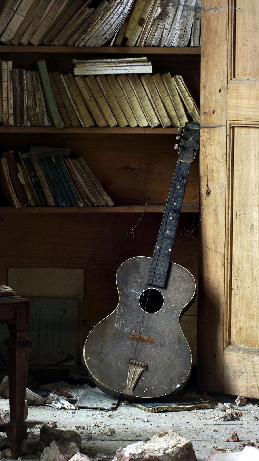 Gitara oparta o półkę z książkami
