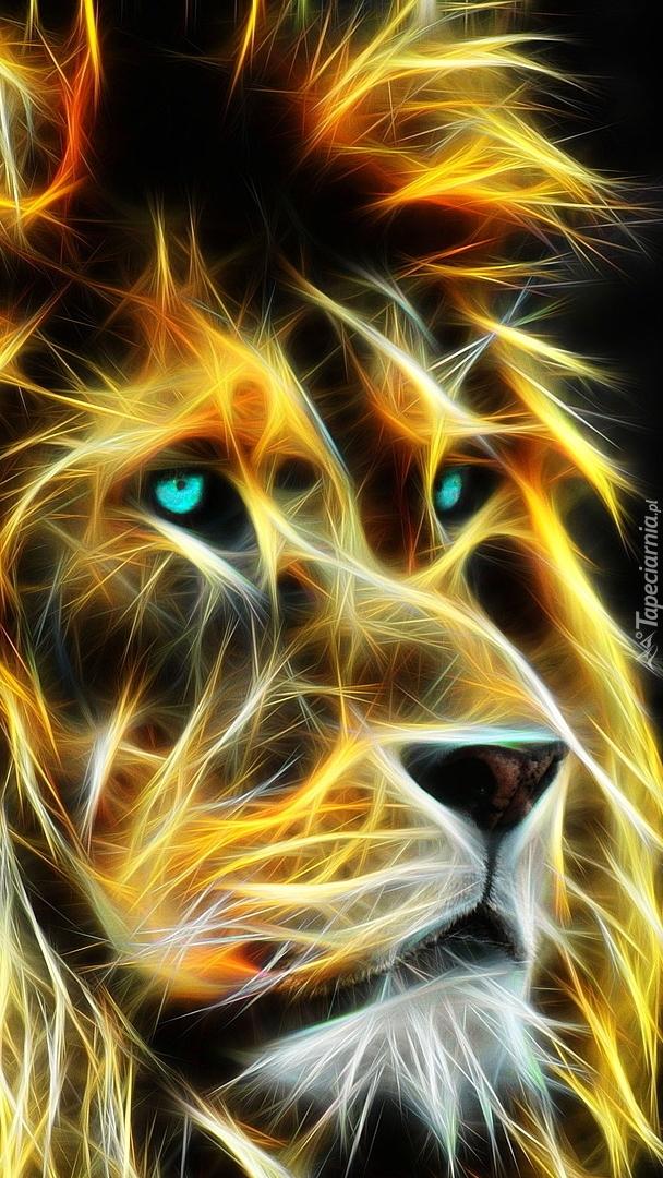 Głowa lwa w grafice fractalius