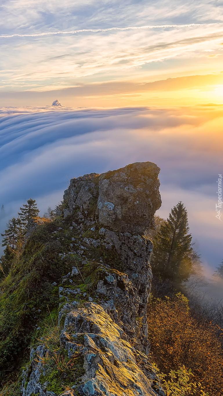 Góra Belchenflue we mgle