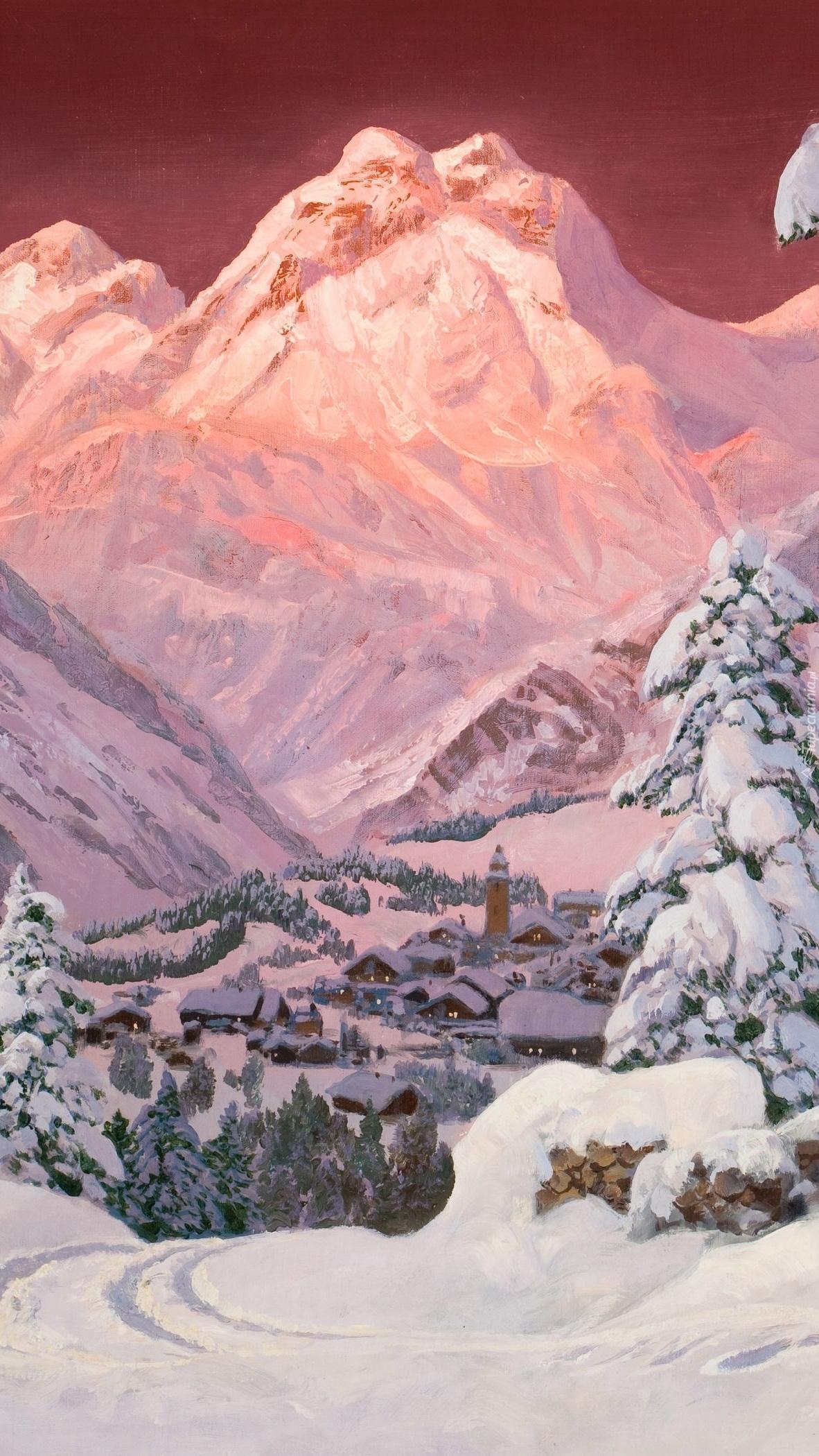 Góry zimą na obrazie Aloisa Arneggera