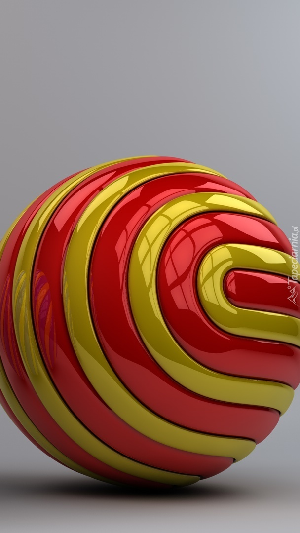 Graficzna złoto-czerwona kula w 3D