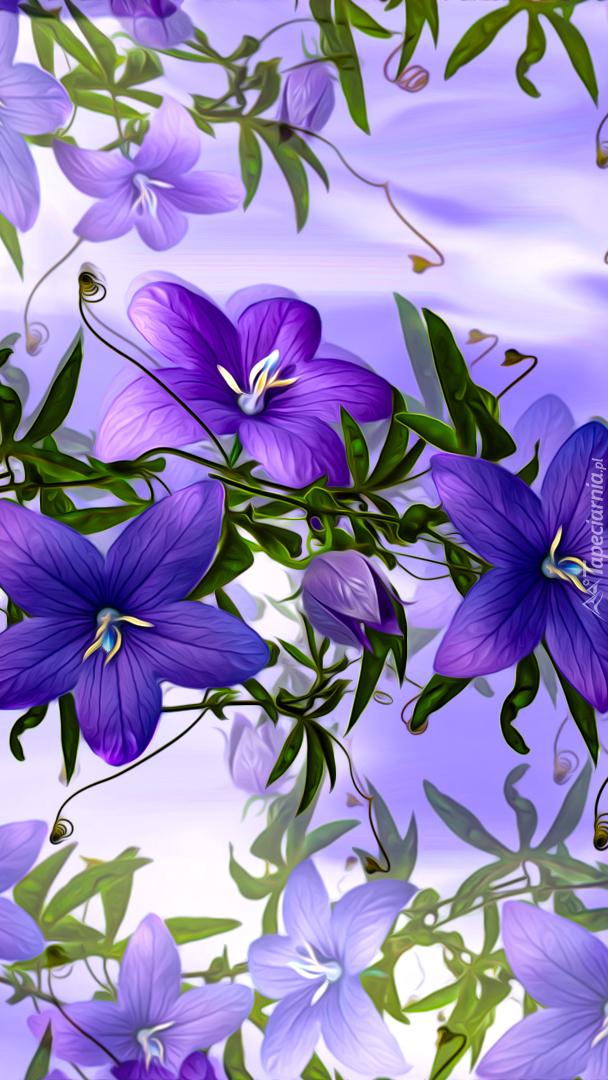 Graficzne fioletowe kwiaty