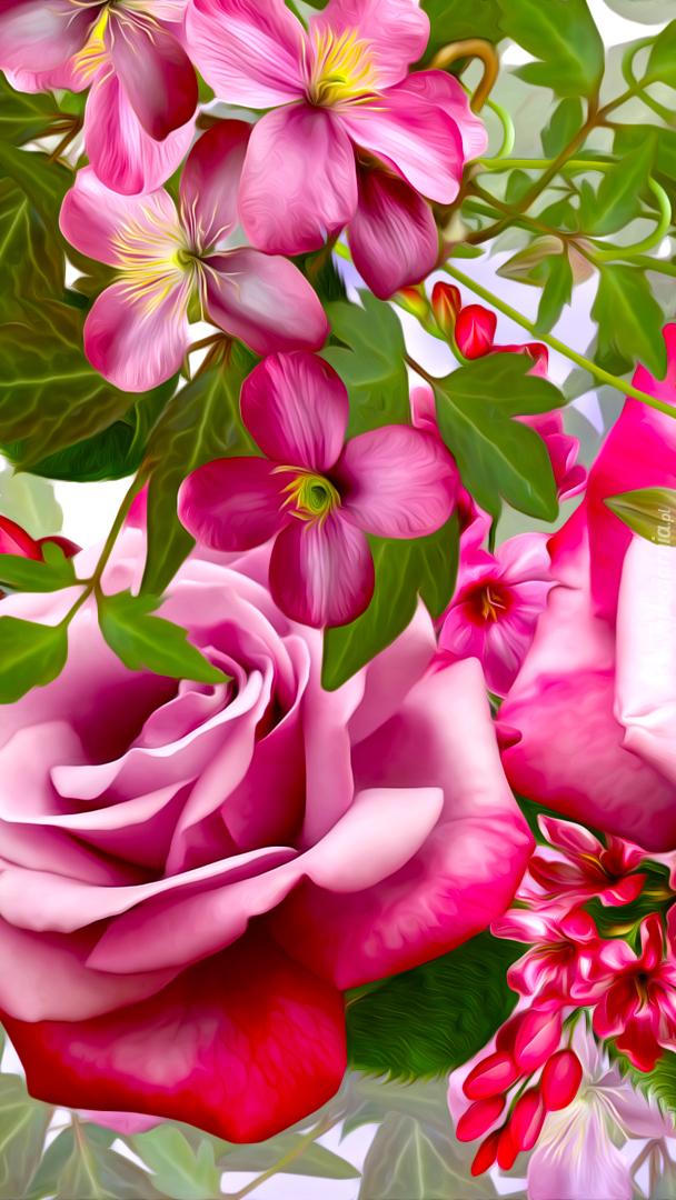 Graficzne różowe kwiaty
