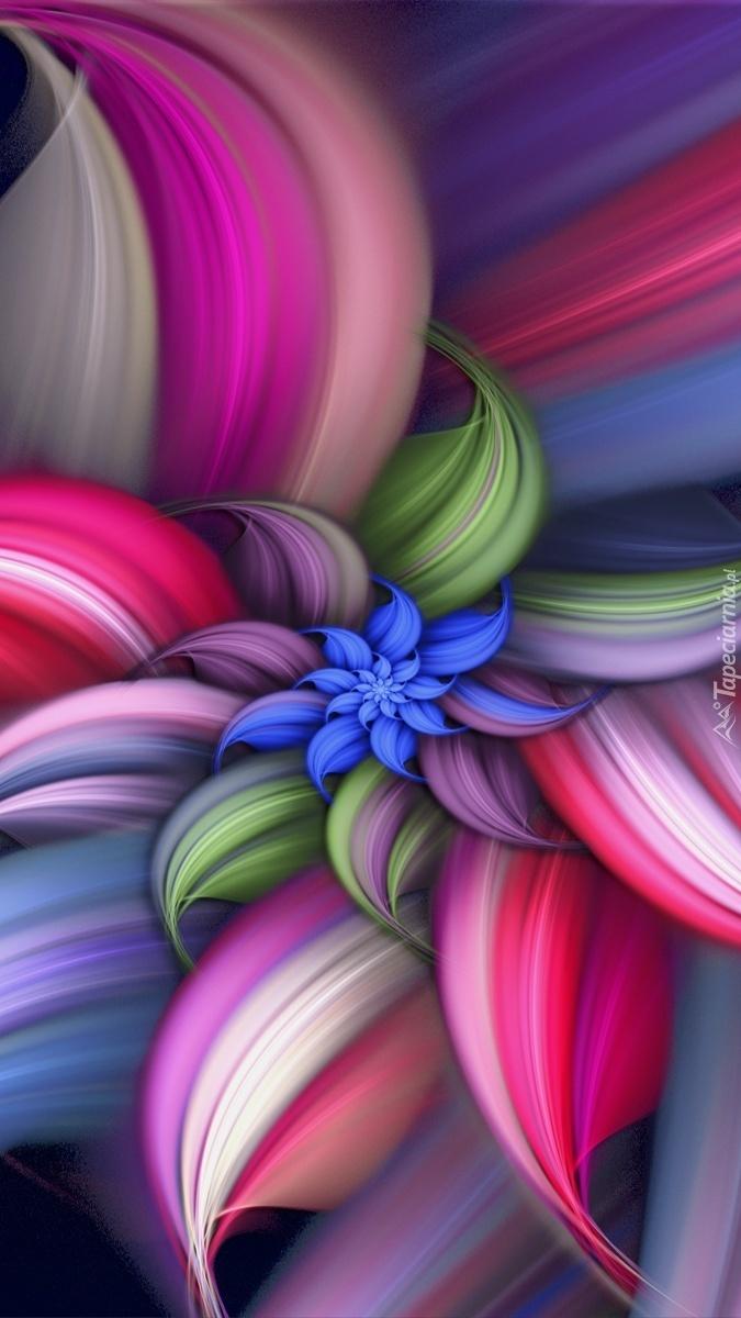 Graficzny wielokolorowy abstrakcyjny kwiatek