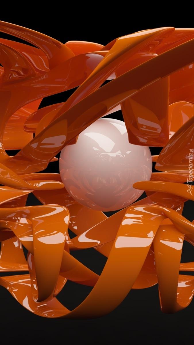 Grafika 3D z białą kulą i pomarańczową wstęgą